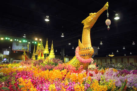 asia pacific: Golden Supannahong boat decorated colorful orchid garden at The 12th Asia Pacific Orchid Conference 2016, Bangkok Editorial