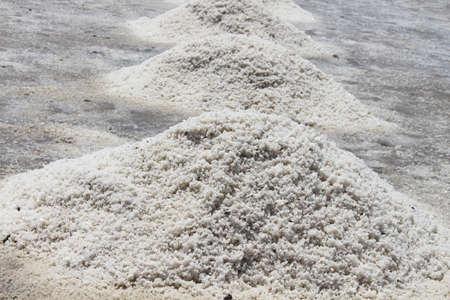 evaporacion: El Salar de evaporación de sal Pond prepararse para la cosecha, la provincia de Samut Sakhon, Tailandia