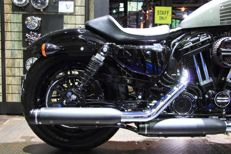 sportster: BANGKOK, THAILAND - MARCH 28,2016(Exhibition Public) : Harley-Davidson Forty-Eight sportster Customized with Genuine Motor at THE 37th BANGKOK INTERNATIONAL MOTOR SHOW , 23 March 2016 - 03 April 2016 Editorial