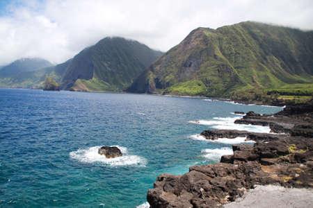 Kalaupapa cliffs and coast island of molokai hawaii