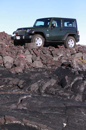 solidified: Mauna Loa Scenic Drive is a 17-mile (one way) roughly paved narrow road, climbing up to Mauna Loa, the largest volcano on Earth , Lava landscape with black, solidified lava
