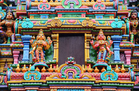 Architectural details of Sri Mahamariamman Temple or Wat Khaek. The oldest and main Tamil Hindu temple in Thailand and is located in district of Bangkok at the corner of Silom Road and Pan Road