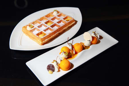 Bangkok, Thailand - September 15, 2016 : Passion Brussels Waffles at Le Salon De The de Joel Robuchon, Central Embassy. It is a stylish French-style cafe which bakes the best world-class desserts.
