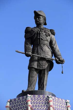 The statue of King Chulalongkorn(Rama V) at Phra Chulachomklao Fort ,Phra Samut Chedi District, Samut Prakan