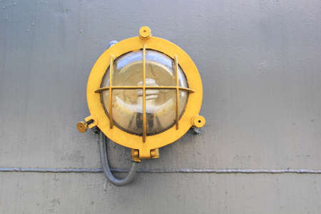 Close up of The Deck Outdoor Lighting Fixture System of Old Military Battleship