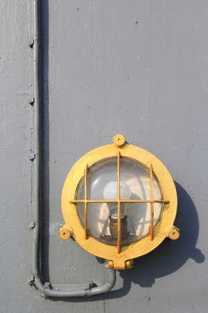 battleship: The Deck Outdoor Lighting Fixture System of Old Military Battleship