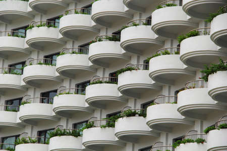 Repeating Pattern of  the Multi-Storey Building Windows and Balcony. Reklamní fotografie