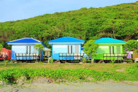 Colorful beach houses at Nam Sai Beach(clear water beach), Sattahip Thailand during summer