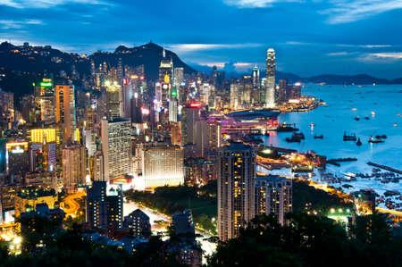 hong kong night: night view of Hong Kong Island