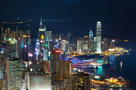 hong kong night: night view of Hong Kong Island