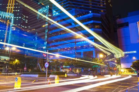 City Night Traffic in Wan Chai, Hong Kong