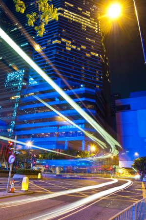 wan: City Night Traffic in Wan Chai, Hong Kong