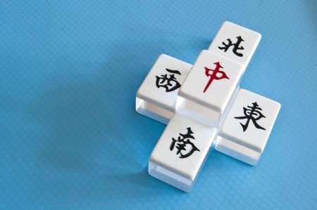 southwest: Mahjong tegels van richting, Oosten, zuiden, westen, noorden Stockfoto