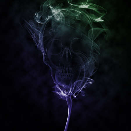 abstract smoke created skull represent dead photo