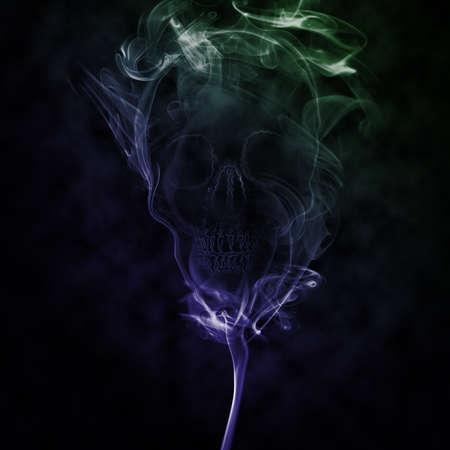 fire skull: abstract smoke created skull represent dead Stock Photo