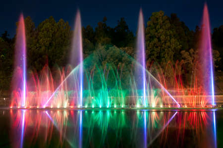 spectacle: magic fountain in Taiwan - lights,colors and music spectacle at night  Stock Photo