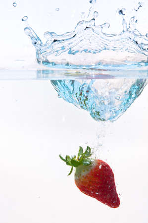 rippled: the moment when strawberry drop into water
