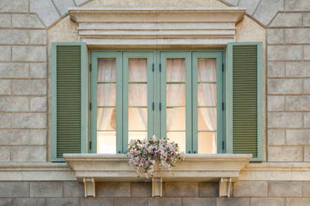a window in old traditional european style photo