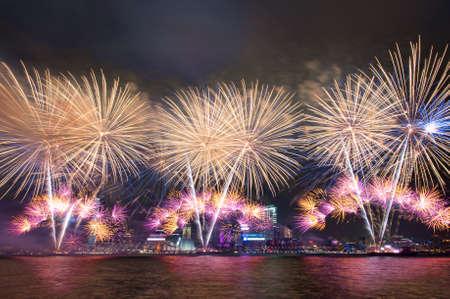 beautiful firework on Victoria Harbor, Hong Kong photo