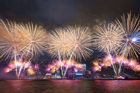 count down: beautiful firework on Victoria Harbor, Hong Kong