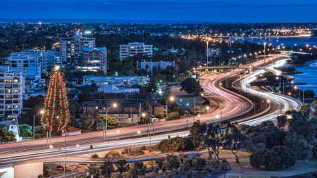 city traffic: Night view with light trails in Perth, Australia