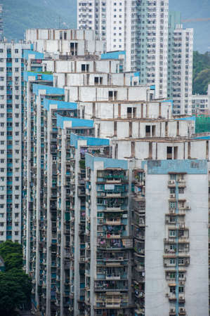 Closly packed apartment building in Macau Stock Photo