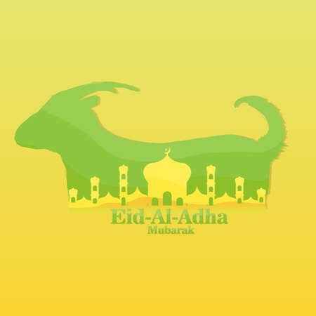 Vector Illustration, Banner, Poster or Greeting Card Template of Islamic Holiday Eid Al Adha Mubarak With Mosque, Goat or Sheep. Islamic Holiday Eid Al Adha Mubarak Concept. Vector Illustration