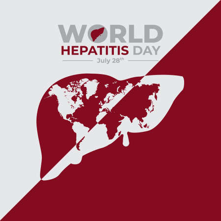 happy world hepatitis day background template use for card vector design, with minimalist and modern concept, cover, backdrop, heart, lung, international