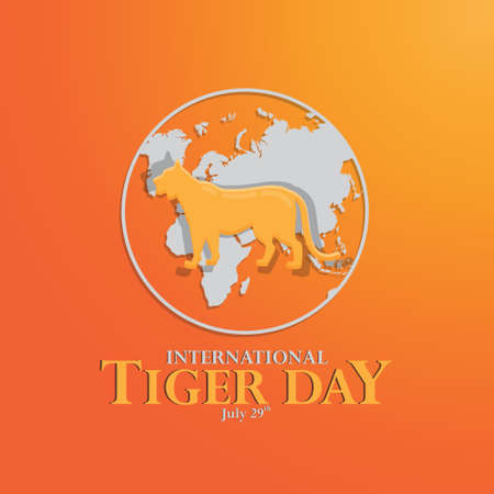 happy international tiger day background template use for card vector design, with minimalist and modern concept, cover, backdrop, panthera, carnivores, international
