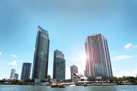 dreams of city: building waterfront chao phraya with sun