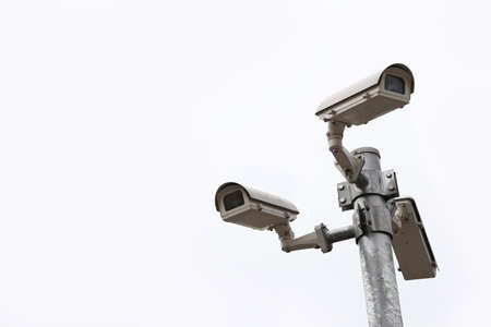 three cctv camera security isolate photo