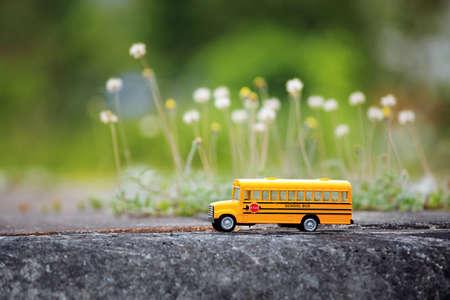 Gele schoolbus speelgoed model op landweg. Stockfoto