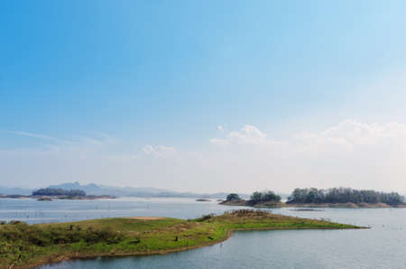 bartolome: Island viewpoint in public park that surrounding the lake at Kanchanaburi province. Stock Photo