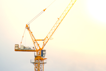 metal structure: Yellow lifting crane Prepare to start In blue sky