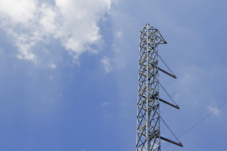 metal structure: Steel power poles With blue sky
