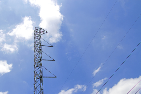 Steel power poles With blue sky