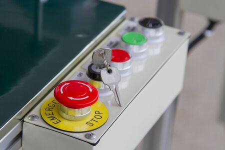 Emergency buttons and other keys on the keys. Stock Photo