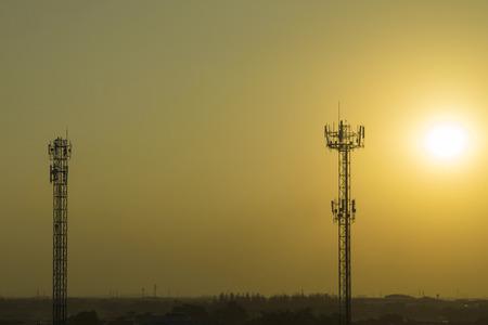 Mobile phone communication tower transmission signal leash Stock Photo