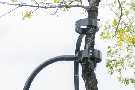 Schwarzer Stahl benutzte Unterstützung zum Baum Standard-Bild