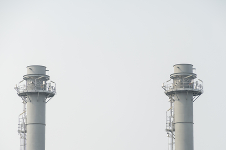 Industrial chimney of power plant and oil refinery