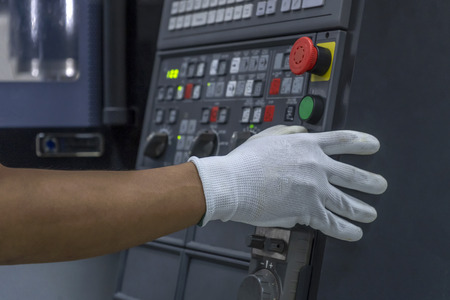 CNC Machine control panel and hand control Stock Photo