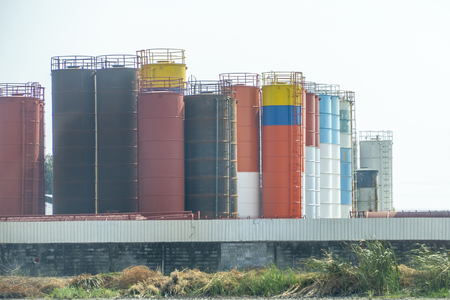 Many tanks or storage and colorful for industrial