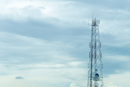 Mobile tower transmission  signal with blue sky