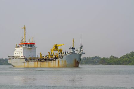 Old cargo ship or ferry on the sea Stock Photo