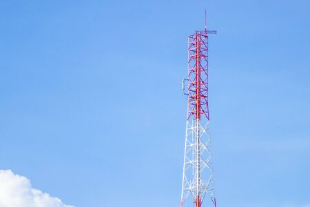 Communication tower transmission  with blue sky background