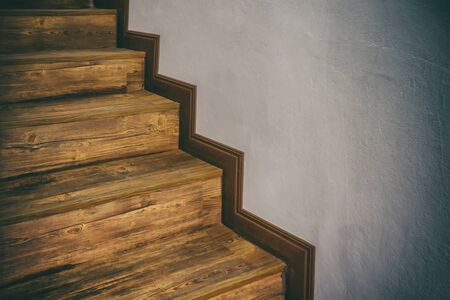 Wooden stairs climb up hardwood inside home Reklamní fotografie