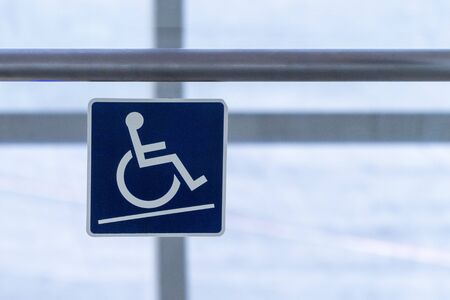 Disabled sign Tilted floor warning wheelchair care