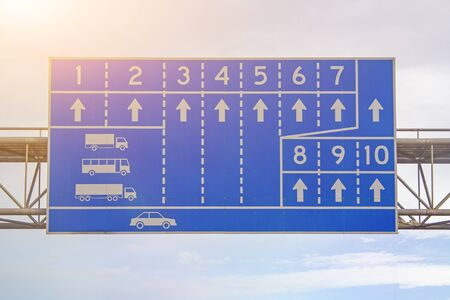 Sign of the car runway white symbol with blue background