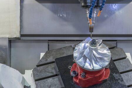 Five axis CNC machining center cutting jet engine turbine.