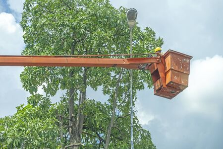 Orange Cranes to repair Cord, Repair street light with tree background and the blue sky